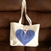 Tote bag with blue heart