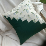Lily of the valley log cabin cushion