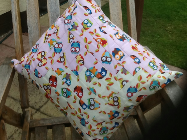 Large owl log cabin cushion