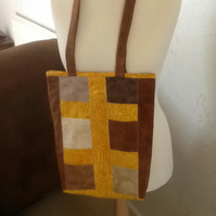 Suedete and batik patchwork tote bag
