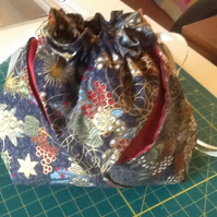 Fun folded fabric makeup bag