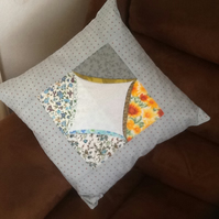 Unique multicloured cathedral window cushion
