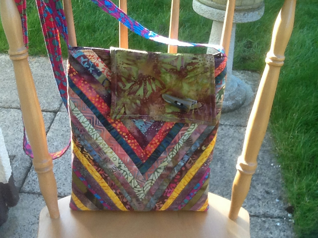 Multicoloured batik strip bag