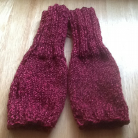 Red mix fingerless gloves