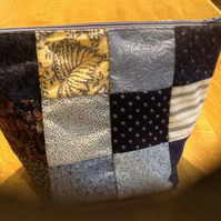 Blue patchwork make up bag