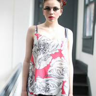 Pretty Disturbia Striped Floral Slouchy Vest Top