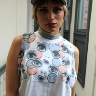Alternative kitsch grunge white eye ball pink white crop top