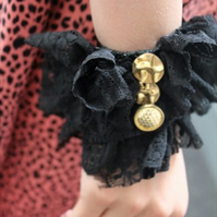 Handmade  ruffle lace black and gold bracelet