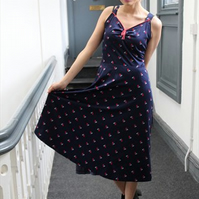 70s vintage navy geometric pattern tea midi festival dress