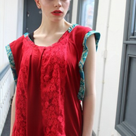 Handmade red and turquoise lace boho batwing top