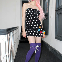 Pretty disturbia Black white polkadots new kitsch mini dress hipster tassels