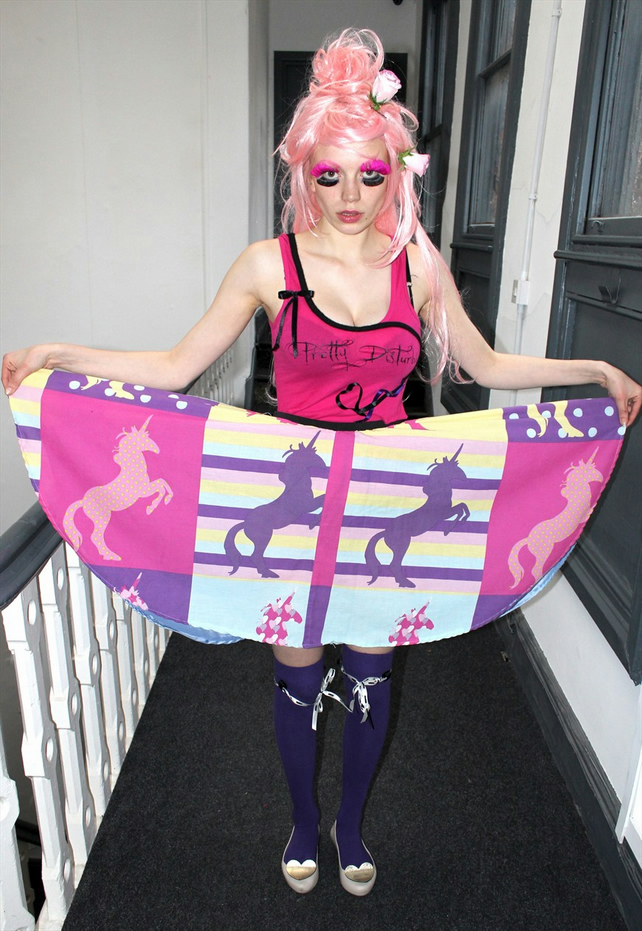 Pretty Disturbia Hot pink purple kitsch unicorn print handmade full skirt