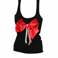 PRETTY DISTURBIA RED SATIN BOW VEST CHRISTMAS PUNK GRUNGE TOP