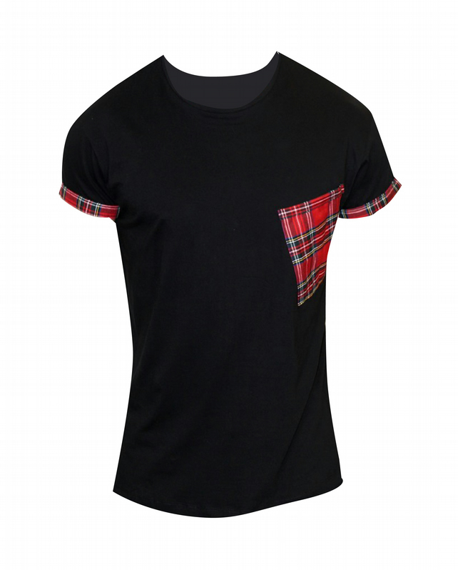 PRETTY DISTURBIA BLACK RED TARTAN ROCKABILLY T-SHIRT TOP UNISEX PUNK GRUNGE