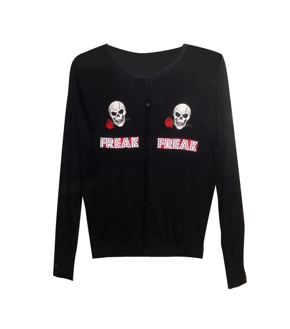 PRETTY DISTURBIA BLACK PUNK GRUNGE SKULLS FREAK CARDIGAN GOTHIC GOTH TOP