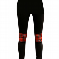 PRETTY DISTURBIA RED TARTAN PUNK GRUNGE BLACK KNEE PATCH LEGGINGS
