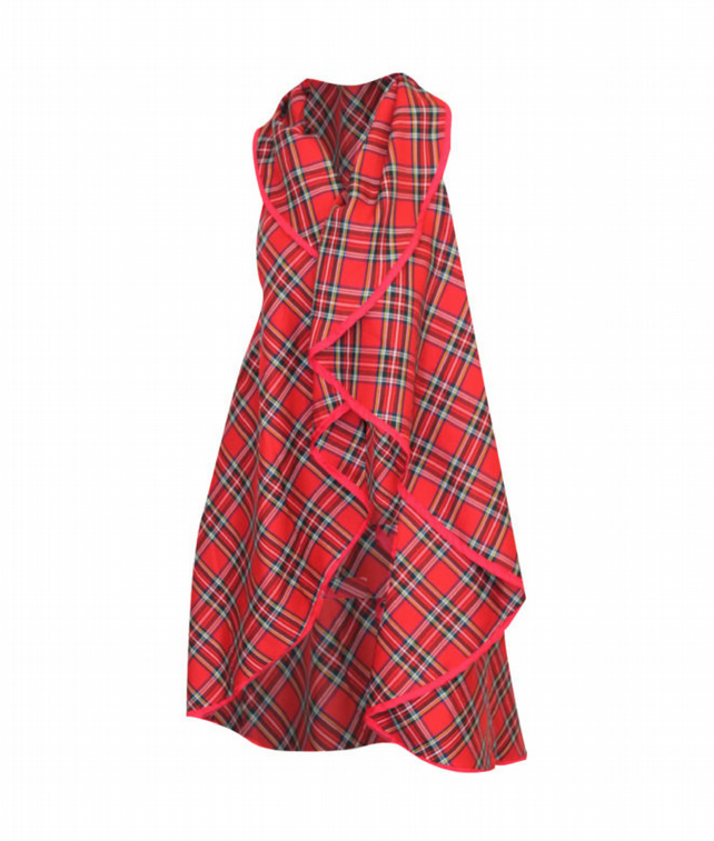 PRETTY DISTURBIA HANDMADE PUNK GRUNGE RED ALTERNATIVE TARTAN CAPE