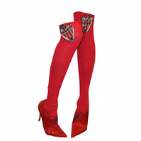 PRETTY DISTURBIA TARTAN FOX SOCKS CHRISTMAS FESTIVE KITSCH PUNK GRUNGE