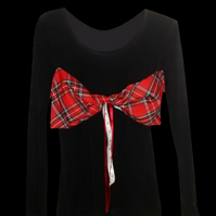 PRETTY DISTURBIA LONG SLEEVE RED TARTAN BOW ROCKABILLY TOP PUNK GRUNGE ROCK