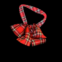 PRETTY DISTURBIA TARTAN HANDMADE HEAD NECK TIE PUSSY BOW PUNK GRUNGE RED