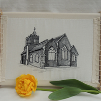 Blackwork Embroidered Building