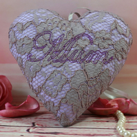 Lace fabric heart, Mothers day gift, gift for Mum, hanging decoration