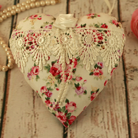 Floral and lace fabric heart, hanging heart decoration, Mothers day gift
