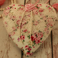 Floral and lace hanging heart, fabric heart decoration, Mothers day gift