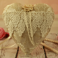 Vintage style fabric heart, lace heart decoration, Mothers day gift