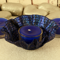 Tea lights, candles, tea light holder, blue votive holder, textile art, unusual