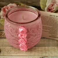 Soy candle and pink lace holder, shabby chic decor, boho decoration, candle gift
