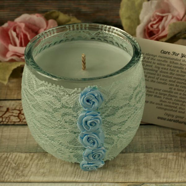 Soy candle and blue lace holder, shabby chic decor, boho decoration, candle gift