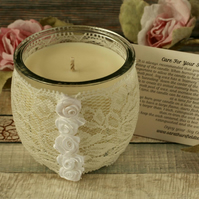 Soy candle and lace holder, shabby chic decor, boho decoration, wedding gift