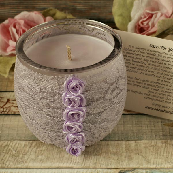 Soy candle and lace holder, shabby chic decor, boho decoration, candle gift