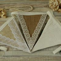 Wedding bunting, lace fabric garland, vintage wedding, rustic home decoration