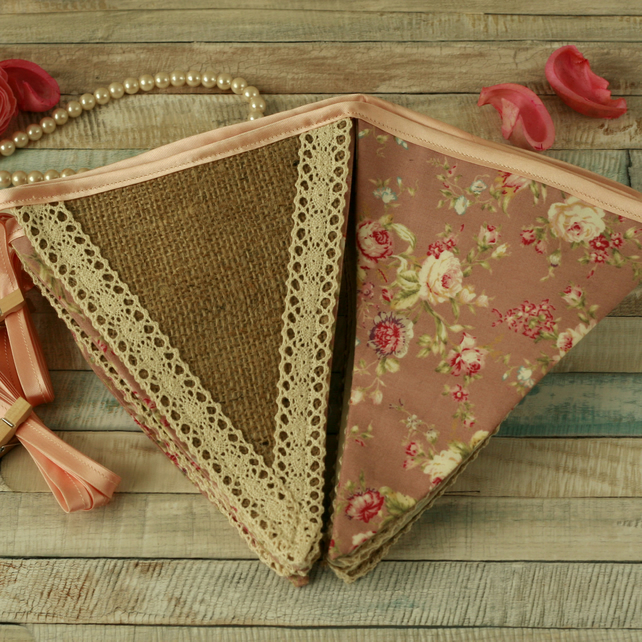 Dusty pink floral and lace bunting, shabby chic garland, vintage home decoration