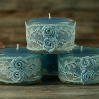 Blue candles and lace holders, shabby chic decor, boho home decoration