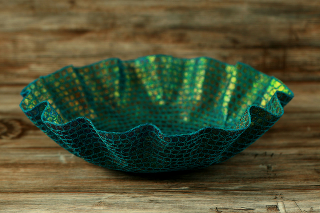 Blue embroidered dish, textile art bowl, home decoration