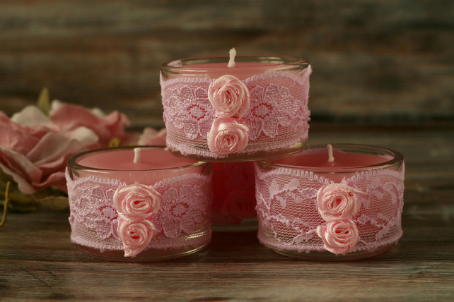 Pink candles and lace holders, shabby chic decor, boho home decoration