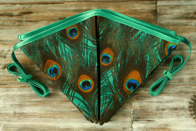 Peacock bunting, home decoration, fabric bunting, peacock wedding