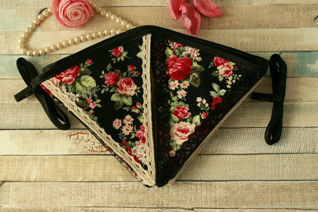 Black floral bunting, vintage home decoration, Shabby Chic fabric garland