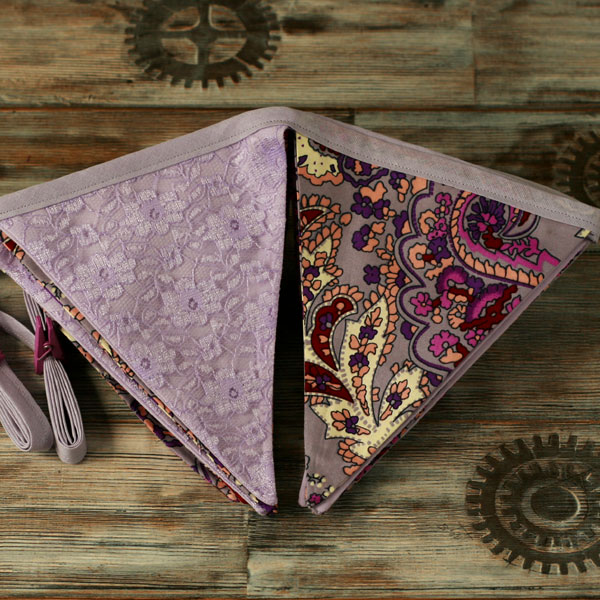 Paisley and lace bunting, retro home decoration, fabric garland