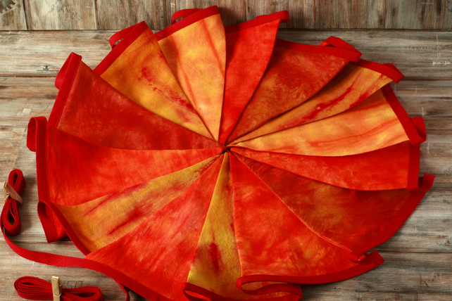 Orange tie dye bunting, retro home decoration, fabric garland