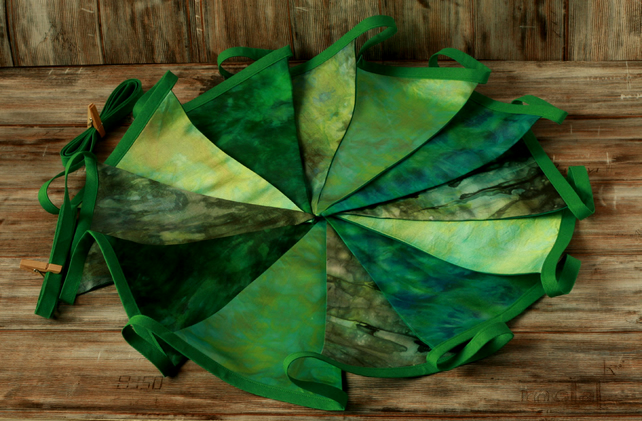 Green tie dye bunting, retro home decoration, fabric garland