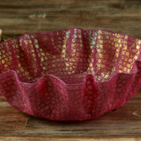 Pink embroidered bowl, textile art dish, home decoration