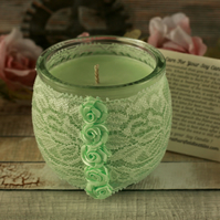 Soy candle and mint  green lace holder, shabby chic decor, boho decoration