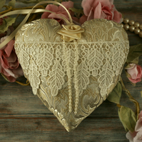 Vintage fabric heart, lace decoration, wedding gift, anniversary gift