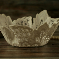 White embroidered lace bowl, decorative textile art, unusual Christmas gift