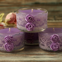 Purple candles and lace holders, shabby chic decor, boho home decoration