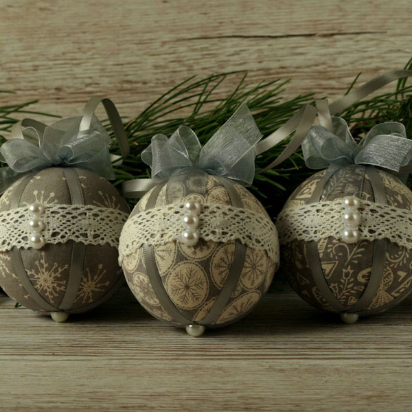 Christmas baubles, traditional Scandi, tree decorations, fabric hanging ornament